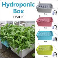 Indoor Garden Aerobic Soilless Cultivation Plant Site Hydroponic System Grow Kit Bubble Cabinet Box 24 Holes UK US Plug