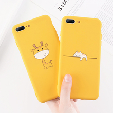 Moskado Yellow Giraffe Cat Phone Case For iPhone X XS Max XR Soft TPU Silicone Cover 7 8 6 6s Plus Cute Cartoon Cases