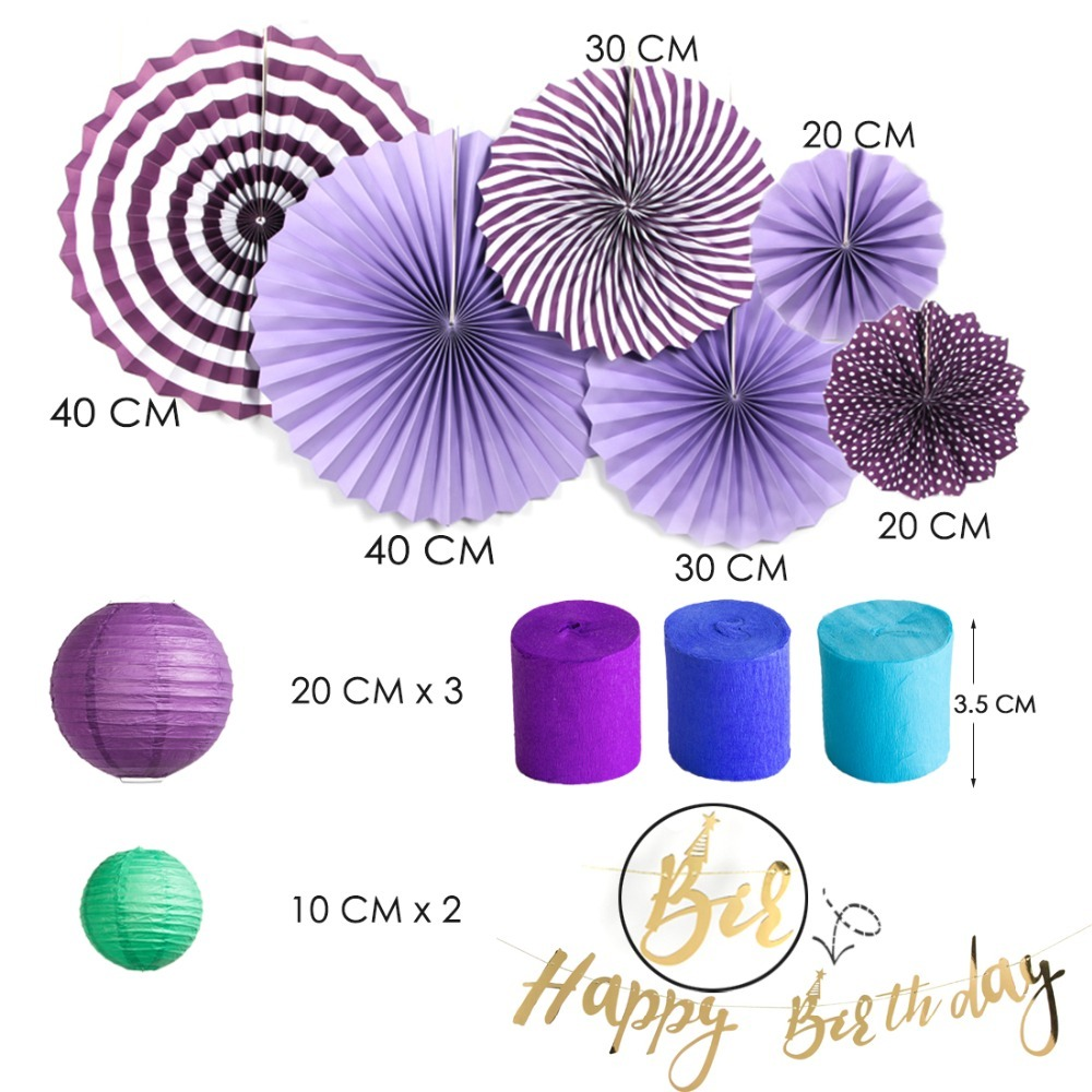 Mermaid Theme Birthday Party Decoration Set Gold Happy Birthday Banner Paper Fans Crepe Streamers Lanterns Tassel Garland in Party DIY Decorations from Home Garden