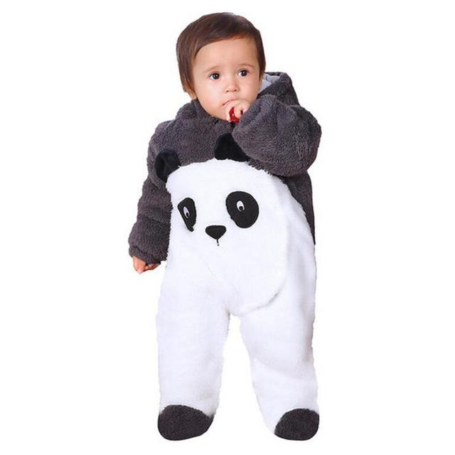 2018 Infant Romper Baby Boys Girls Jumpsuit New Born Bebe Clothing Hooded Toddler Baby Clothes Cute Panda Romper Baby Costumes 2