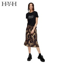 HYH Haoyihui Summer Girls Pure Color Women Tops Black T-shirt  Short Sleeves Printed Round Collar Solid Letters
