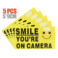 5Pcs You're On Camera Smile Signs Stickers Video Alarm Security Stickers Self-adhesive Warning Signs 4pcs lot new waterproof sunscreen home cctv video surveillance security camera alarm sticker warning decal signs