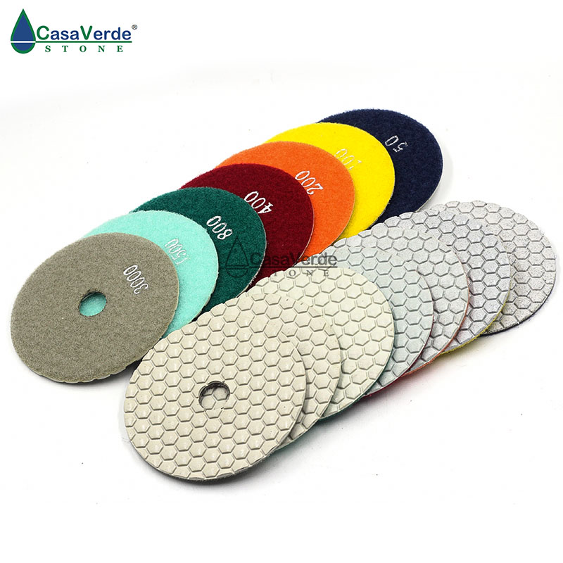 2.0 mm de espesor de trabajo 7 unids / lote 4 pulgadas 100 mm almohadillas de pulido en seco de diamante de granito para almohadilla de pulido de mármol de granito