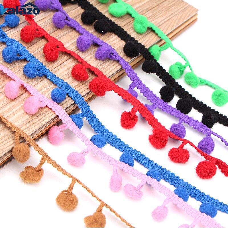 5pcs  1M Random Mixed Color Pom Pom Trim Ball Fringe Ribbon DIY Sewing Accessory Lace Wedding Birthday Party Decor