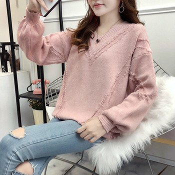 Autumn Winter Women's V-Neck Kniting  Sweater Female Lantern Sleeve Pullover Casual Loose Solid Sweaters lantern sleeve plain pullover sweater