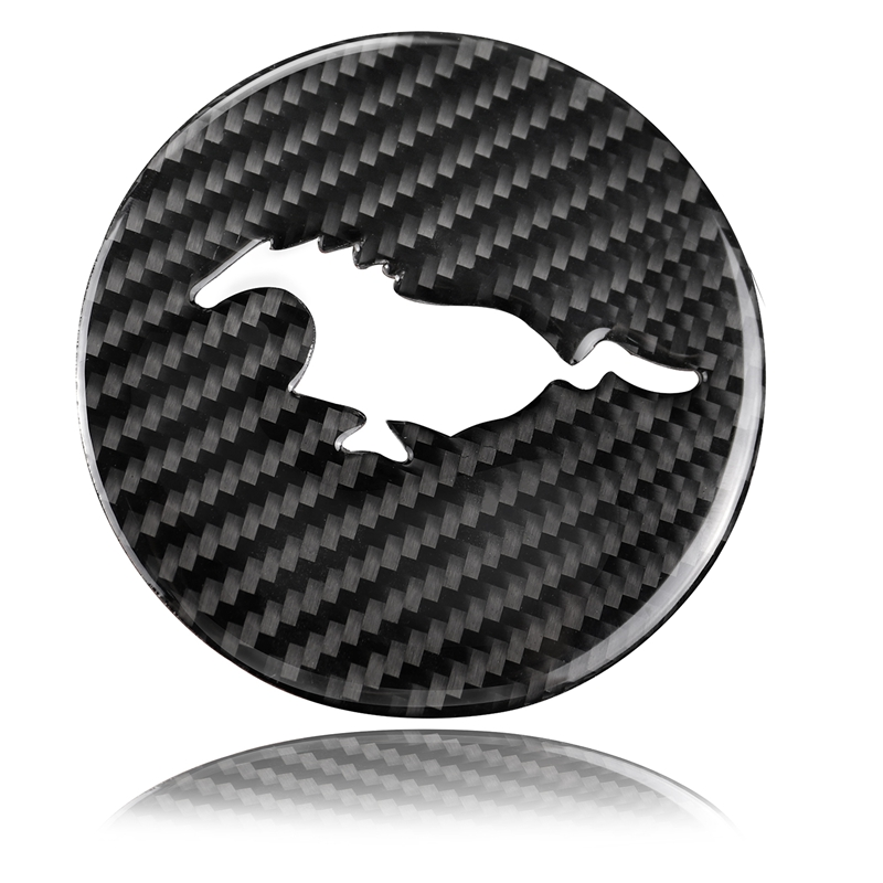 For Ford <font><b>Mustang</b></font> Carbon Fiber Steering Wheel Emblem 3D Car Stickers Car Styling <font><b>2015</b></font> 2016 2017 Auto <font><b>Accessories</b></font> image