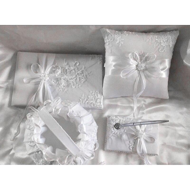 Classique blanc broderie dentelle fleur panier + anneau oreiller + signe livre + stylo mariage
