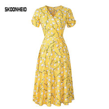 SKOONHEID new Floral Midi Dress Print Wrap Dresses chiffon long dress(China)
