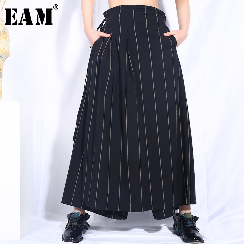 [EAM] 2019 New Spring Summer High Waist Bandage Black Striped Printed Loose   Wide     Leg     Pants   Women Trousers Fashion Tide JO580