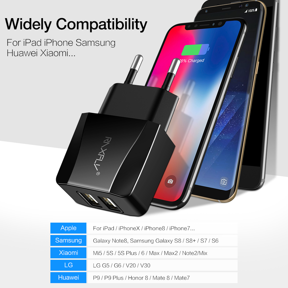 RAXFLY Universal USB Fast Charger For iPhone EU Plug Dual Ports USB Quick Mobile Phone Charger For Samsung For Xiaomi in Mobile Phone Chargers from Cellphones Telecommunications