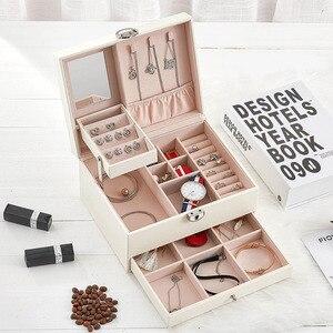 Image 3 - Шкатулка для ювелирных изделий из кожи модного дизайна, большая коробка для хранения ювелирных изделий, кольцо, ожерелье, браслет, Лидер продаж