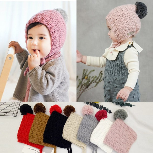 d3081085c Korean Winter Children's Knitted Hats Handmade Hair Ball Lace Sweater Hat  Baby Head Cap(Suitable for 2 8 years old)-in Hats & Caps from Mother & Kids  on ...