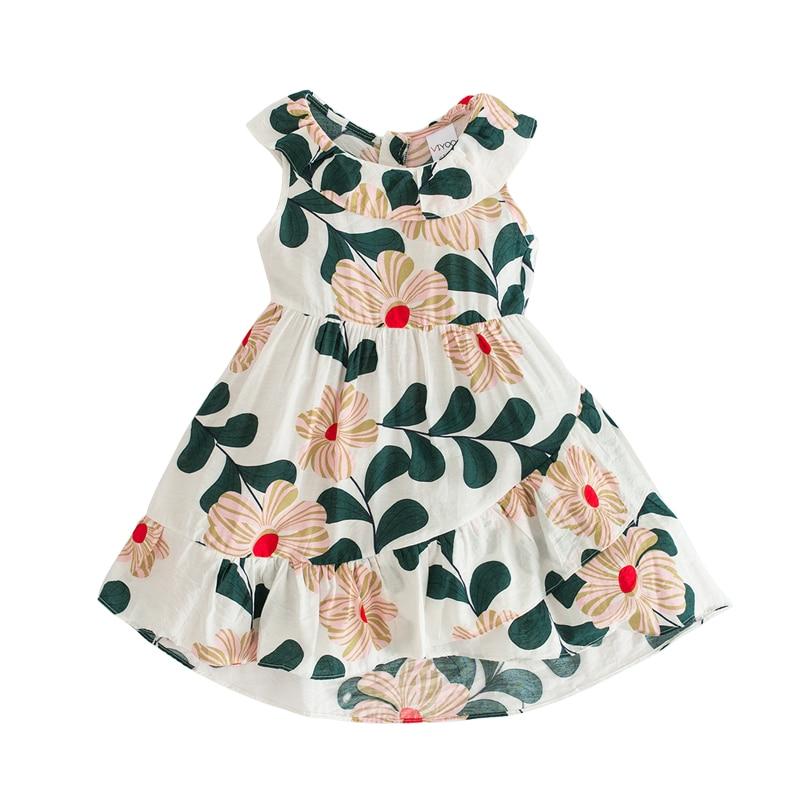 2 - 8 yrs baby girls Irregular ruffle printed sleeveless beach dress summer print cotton kids clothes little girls kawaii frocks 1