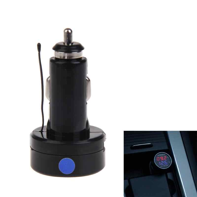 DF-01-TV 2IN1 רכב סוללה צג מד מתח מדחום RGB דיגיטלי תצוגת ed ירוק כחול רכב מד מתח 7.2*3.8 cm