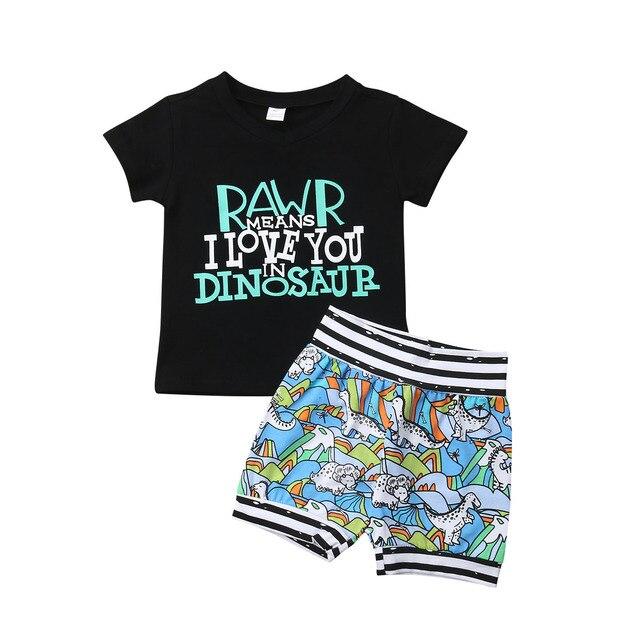 חדש Arrivels פעוט תינוק ילד קיץ בגדי דינוזאור טי T-חולצה + מכנסיים קצרים להגדיר 2019