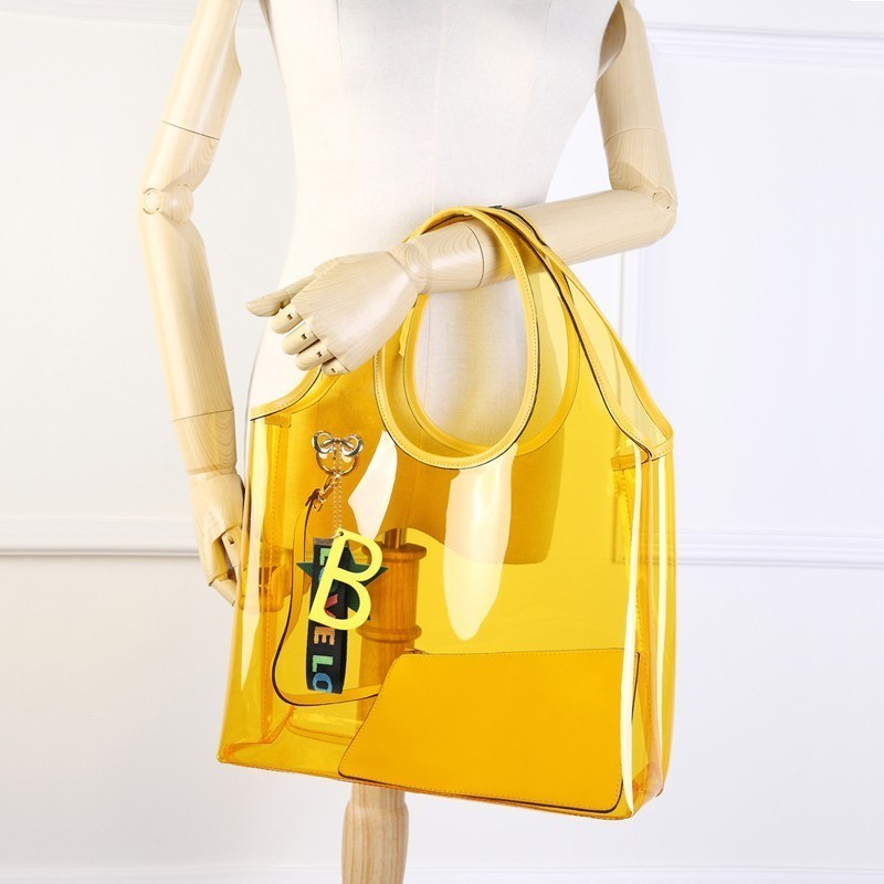 5b2e93f08530 Diinovivo 2019 New Summer Wristlets Beach Straw Bags Transparent Bag ...