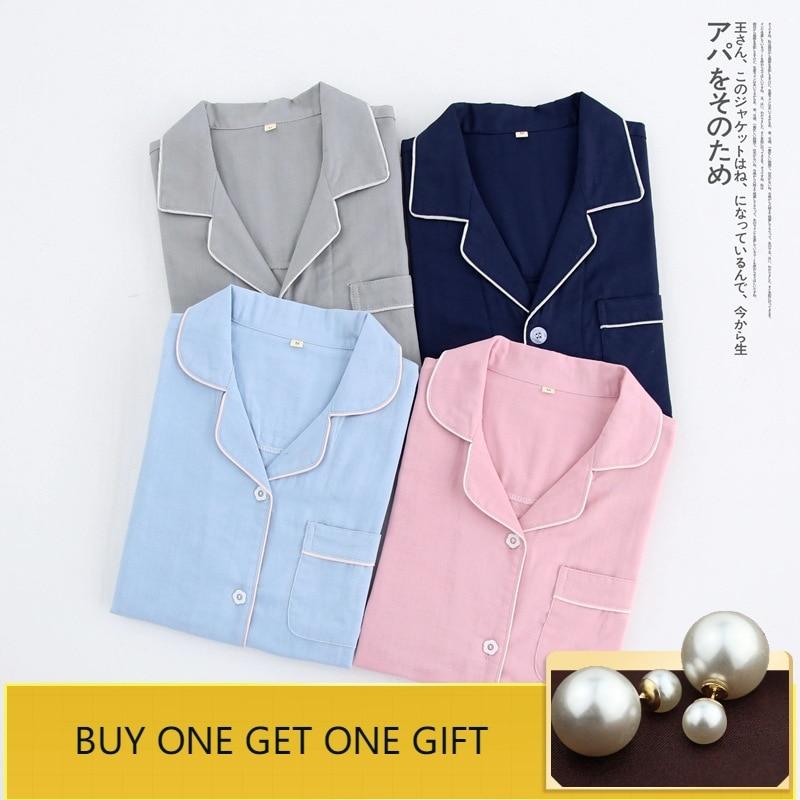 home suit Cotton Couple   Pajama     Sets   Fashion Women Sleepwear Solid Color Pyjamas Women Female Suit Autumn Spring Thin Home Wear