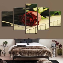Canvas HD Prints Posters Wall Art Flowers And Music Pictures 5 Pieces Red Rose Piano Keys For Living Room Home Decor
