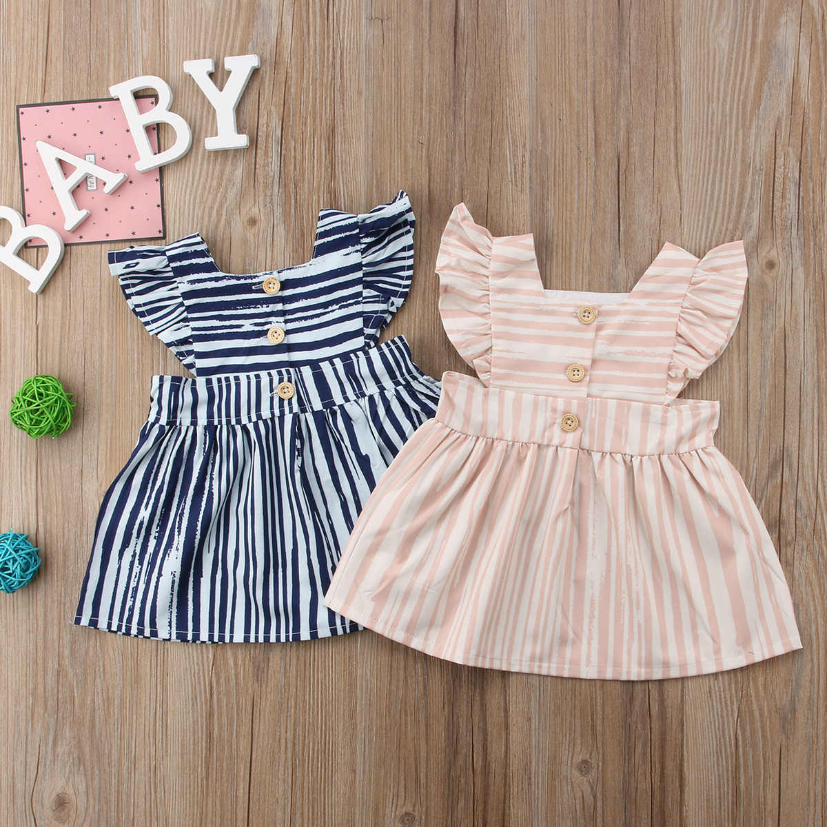 39b6cf07c67b pudcoco Princess Kids Baby Girls Striped Dress Party Bridesmaid Dresses  Sundress Clothes baby girl spring summer