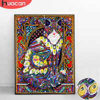 Huacan алмаз особенной формы с изображением кота животных Diy Бриллиантовая вышивка для дома Декор частично кольцевой Мозаика из буровых алмаз...