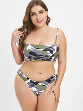 Plus Size 3XL Serpentine Printed High Leg Bikini Set Two Piece XXXL XXL Women Large Brazilian Swimwear Biquini Triangle Swimsuit(China)