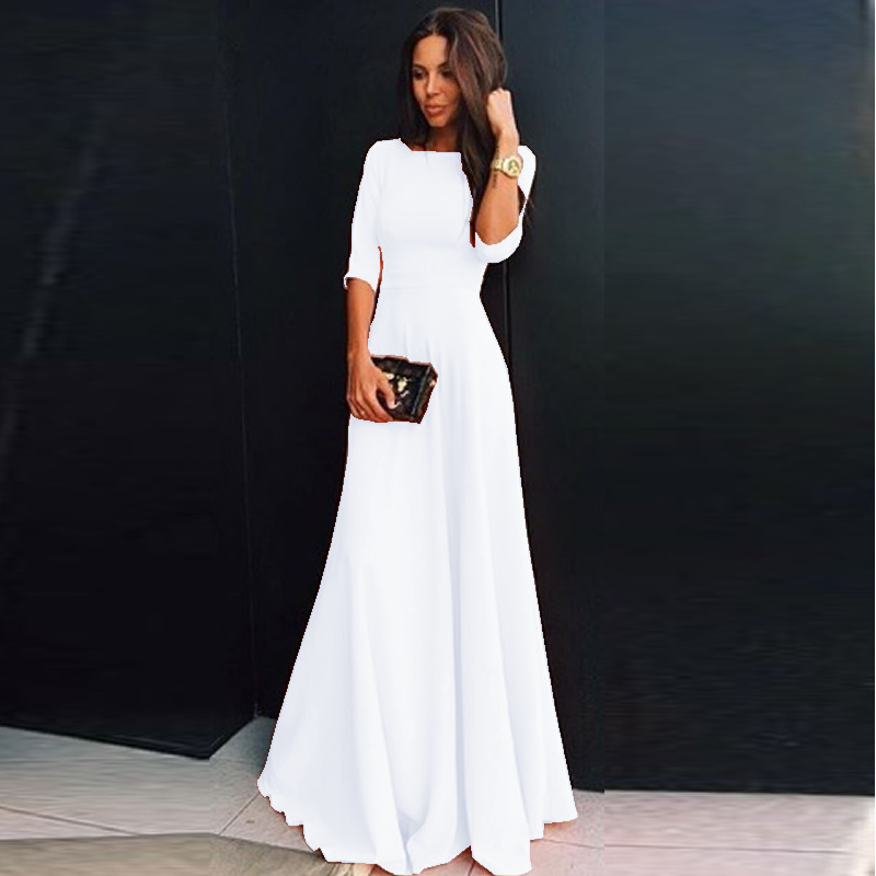 Summer Women Chiffon Dress Elegant Three Quarter Sleeve Long Dresses White Black Evening Party Dresses Robe Femme Vestidos