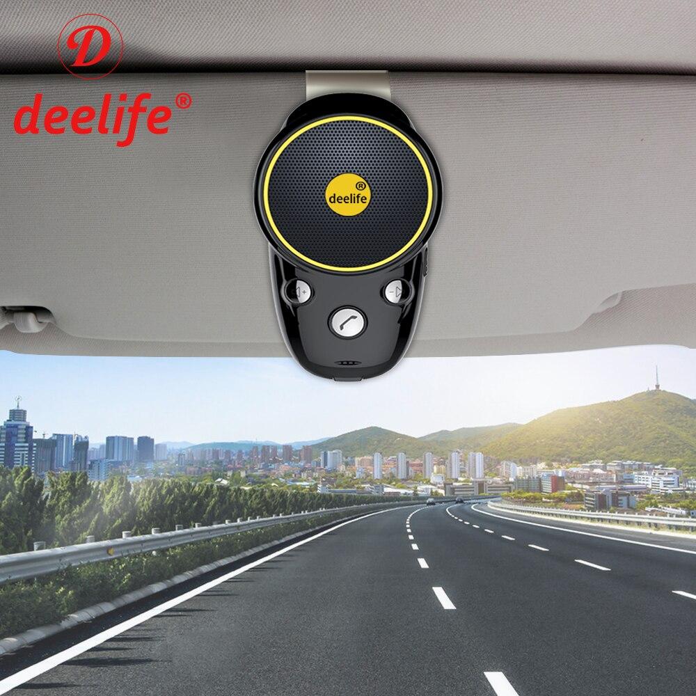 Deelife Bluetooth manos libres Kit de coche Auto inalámbrico altavoz Carkit parasol para coche Teléfono manos libres adaptador en- coche