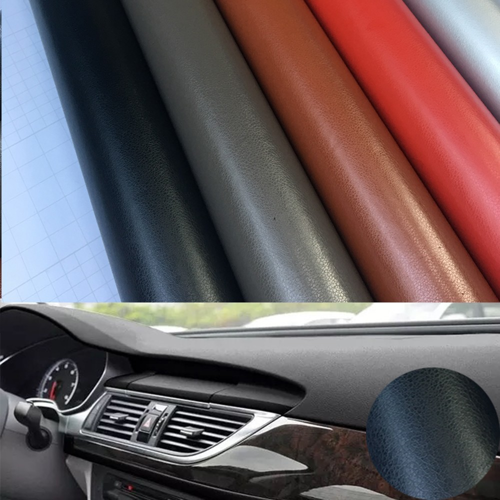 10cmx100cm Leather Grain Vinyl For Car Panel Dashboard Internal DIY Wrap Decals Adhesive PVC Car Styling Sticker