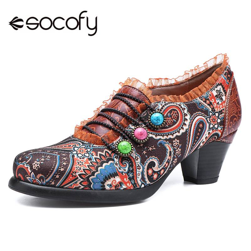 Socofy Bohemian Vintage Style Women Pumps Shoes Woman Spring Summer Genuine Leather Block High Heels Zipper Printed Ladies Shoes