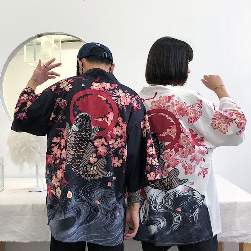 Japanese Traditional Costumes Sakura Kimono Cardigan Man Woman Lover's Clothes Beach Robe Haori Yukata Bushido Outfits