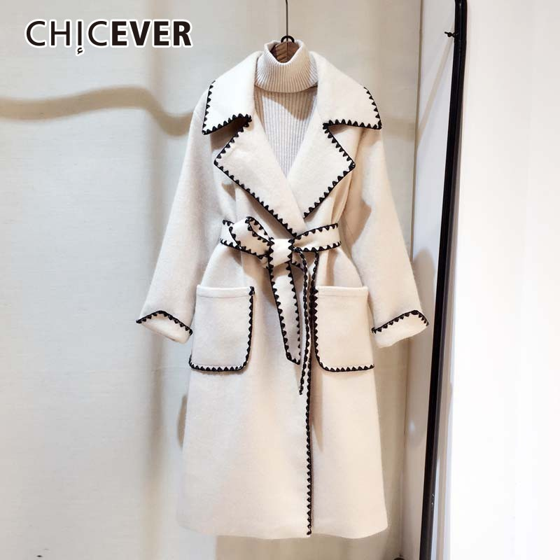 CHICEVER Hit Colors Women's Coats Female Lapel Long Sleeve Loose High Waist Bandage Warm Coat Fashion Elegant Clothes New