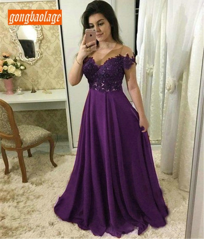 Elegant Purple Chiffon Long Evening Dress Sweetheart A Line Appliques Floor Length Formal Occasion Dresses 2019 Sexy Party Gowns