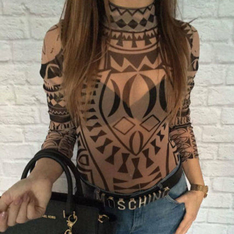 High Neck Romper Women Casual Tattoo Print Stretch Bodysuit Bodycon Slim Fit Mesh Sheer Long Sleeve Leotard Tops Overalls