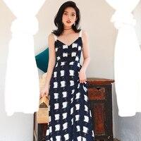 Retro beach resort Bali show thin Thailand sanya backless dress grid condole female summer dress