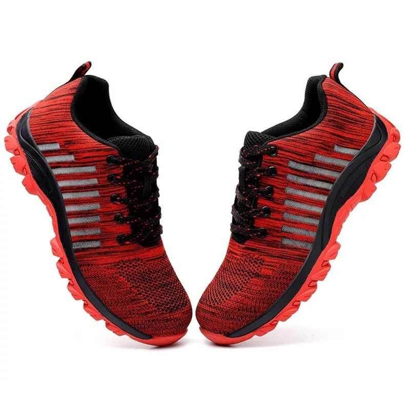 Erkekler ve kadınlar yaz kırmızı çizgili nefes güvenlik botları nefes kaymaz iş ayakkabısı klasik moda stil trekking ayakkabıları