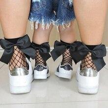 Женские черные дышащие носки в сеточку Harajuku с бантиком. сексуальные сетчатые носки в сеточку, женские, универсальный размер