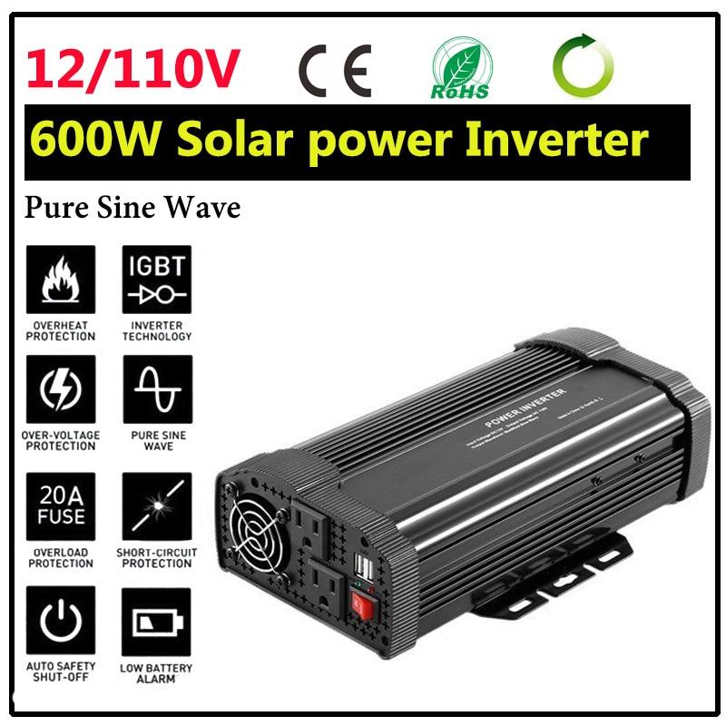 Neue Solar Power Inverter 1200 W 12 V DC Zu 110 V AC Reine Sinus Welle Konverter Ladegerät Konverter Stetigen durable Fahrzeug Netzteil