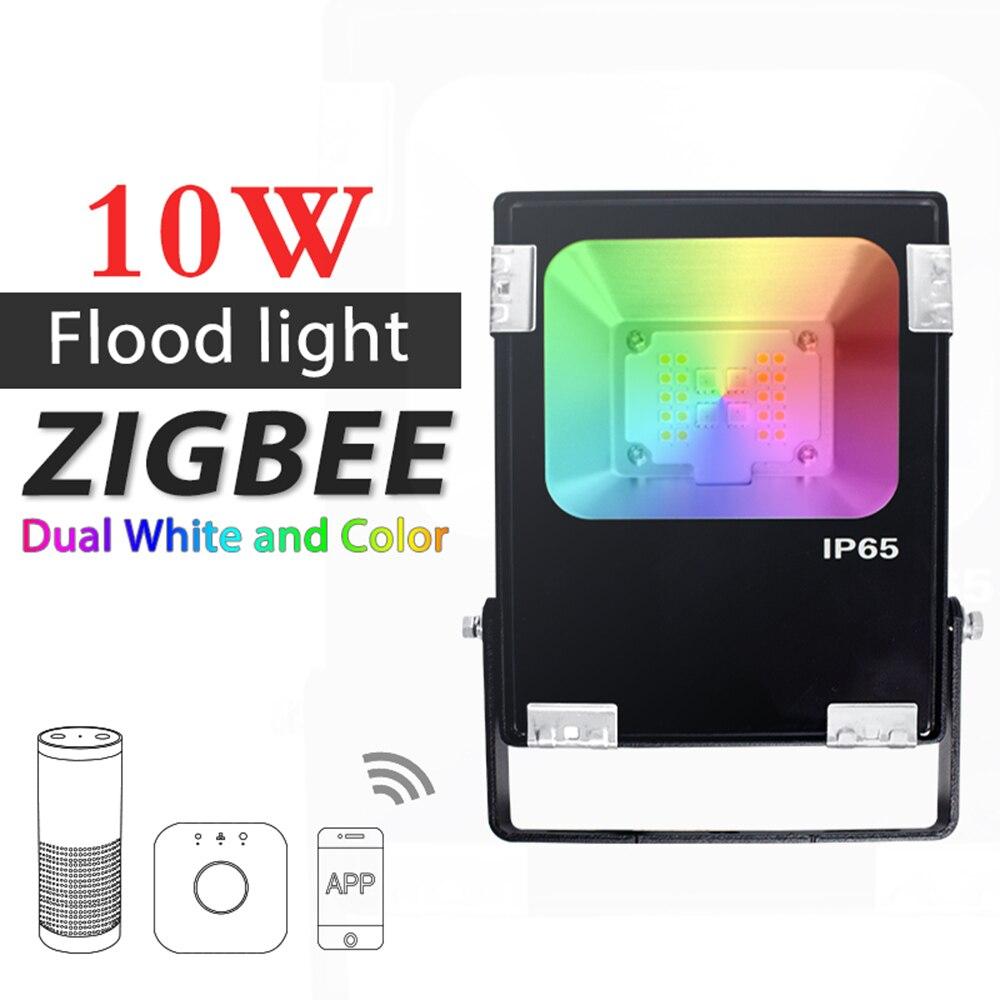 ZIGBEE ZLL светодиодный прожектор, 10 W, RGB + CCT WWCW приложение управления Цвет температура, открытый Водонепроницаемый IP65, работа с Amazon Echo плюс свето...