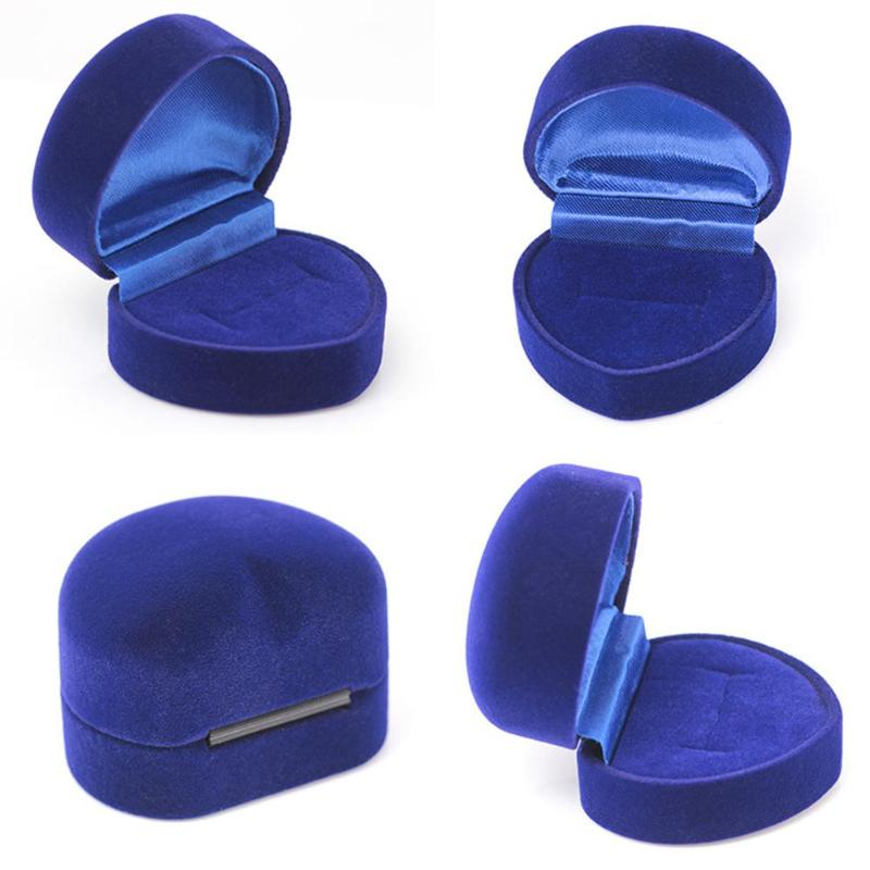 Blue Ring Box Jewelry Display Storage Foldable Case For Wedding Ring Valentine's <font><b>Day</b></font> Gift Organizer Heart Rings Storaage Case image