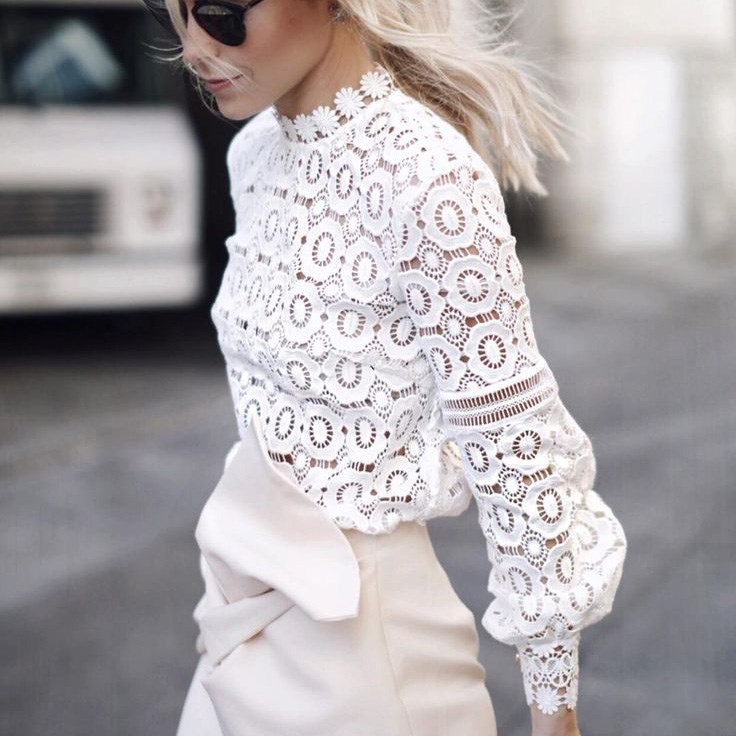 Womens Blouses Long Sleeve Tops Clothing Casual Tee Shirts Stand Hollow Out Lace White Blouse