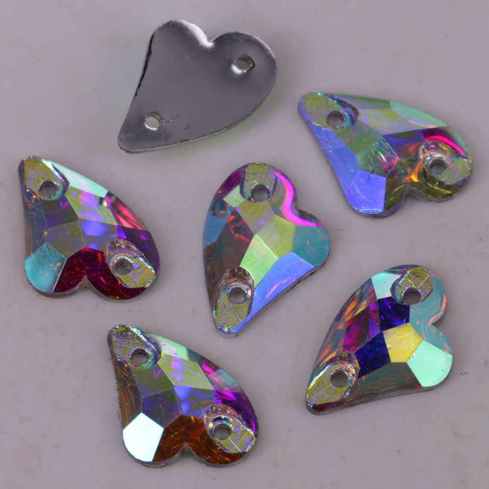 100 Stks/partij, 9x14mm, 13x17mm Crystal Ab/clear Ab Sweet-hart Resin Naaien-op Stenen Platte Achterkant Naaien Op Stenen Plat Hars