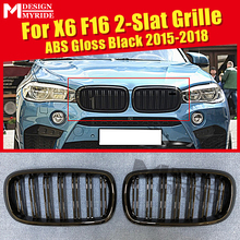 X6 F16 Front Bumper Grille ABS Material Gloss Black For X6 F16 X5 F15 Double Slat Front Bumper Kidney Grille Car styling 2015-in abs car front bumper grille cover trim for bmw f15 x5 f16 x6 suv 4 door 2014 2017