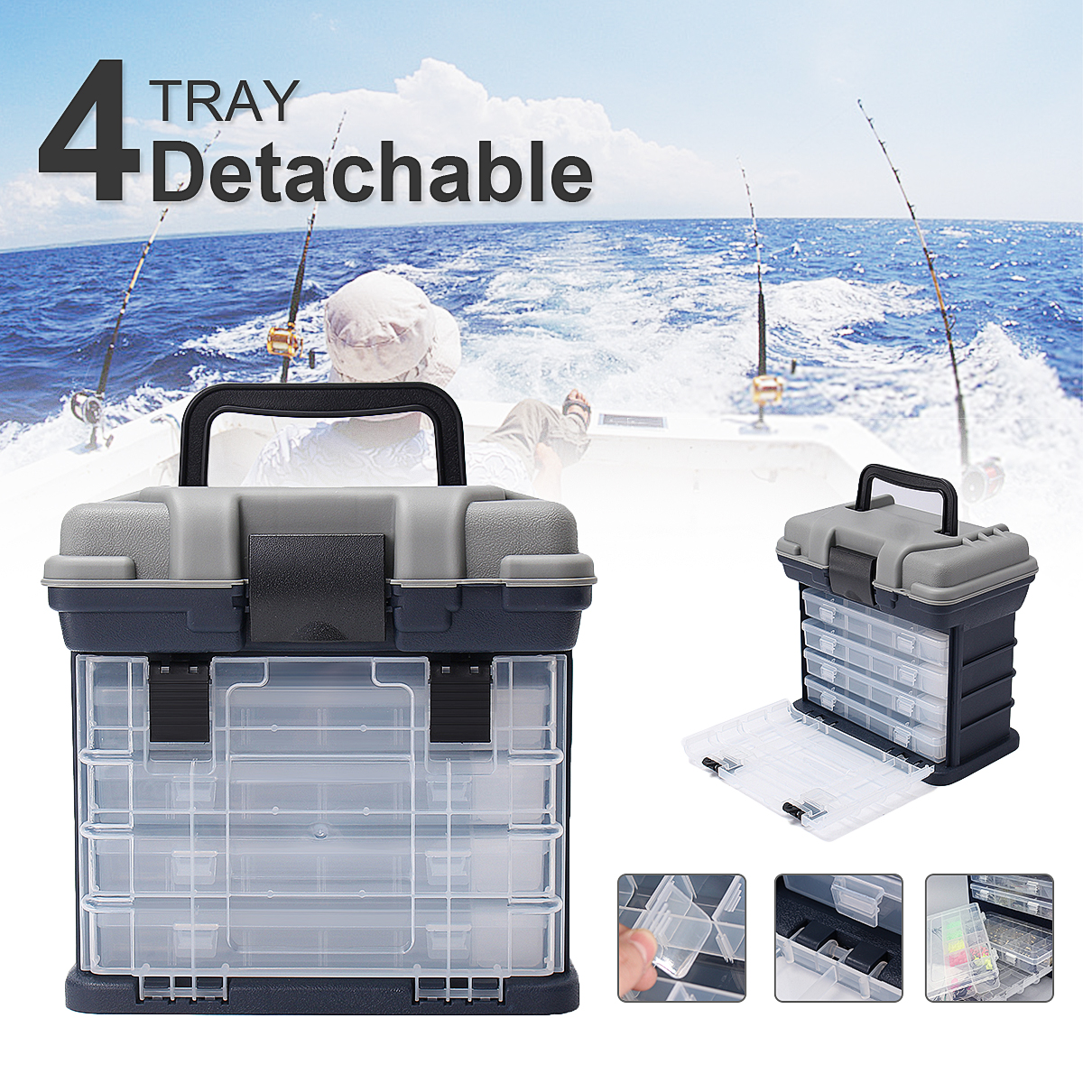 Bobing 270x170x260mm 4 Layers Fishing Tackle Box Heavy Polypropylene Hand Carried Portable Fishing Lures Storage Case Boxes