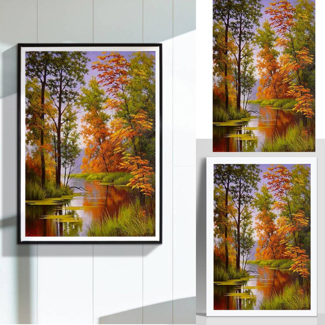 Cross-stitch Explosion Models Diy Diamond Painting 5d Cross Stitch Full Drill Lakeside Boat Woods Landscape Sunset Bedroom Paintings
