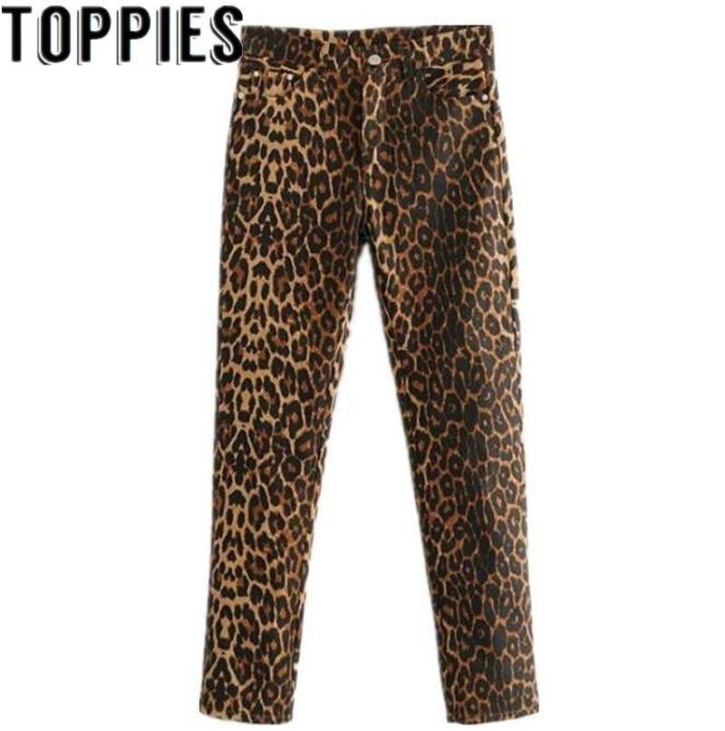 2019 Women Leopard Denim Trousers Sexy Slim Leopard Print   Leggings   Female Leopard Jeans