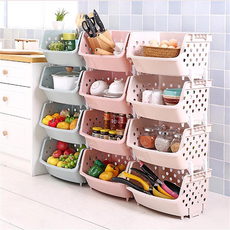 1pcs Kitchen Storage Basket Vegetables Fruit Storage Baskets Kitchen Tableware Storage Rack Holder Bathroom Basket Organizer