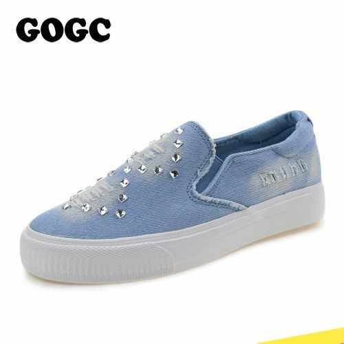 74e77d2eb9 Detail Feedback Questions about GOGC Denim Canvas Shoes fashion Slipony  Women Footwear Height Increase Girl Female Comfort Slipony Women Shoes  Casual Shoes ...