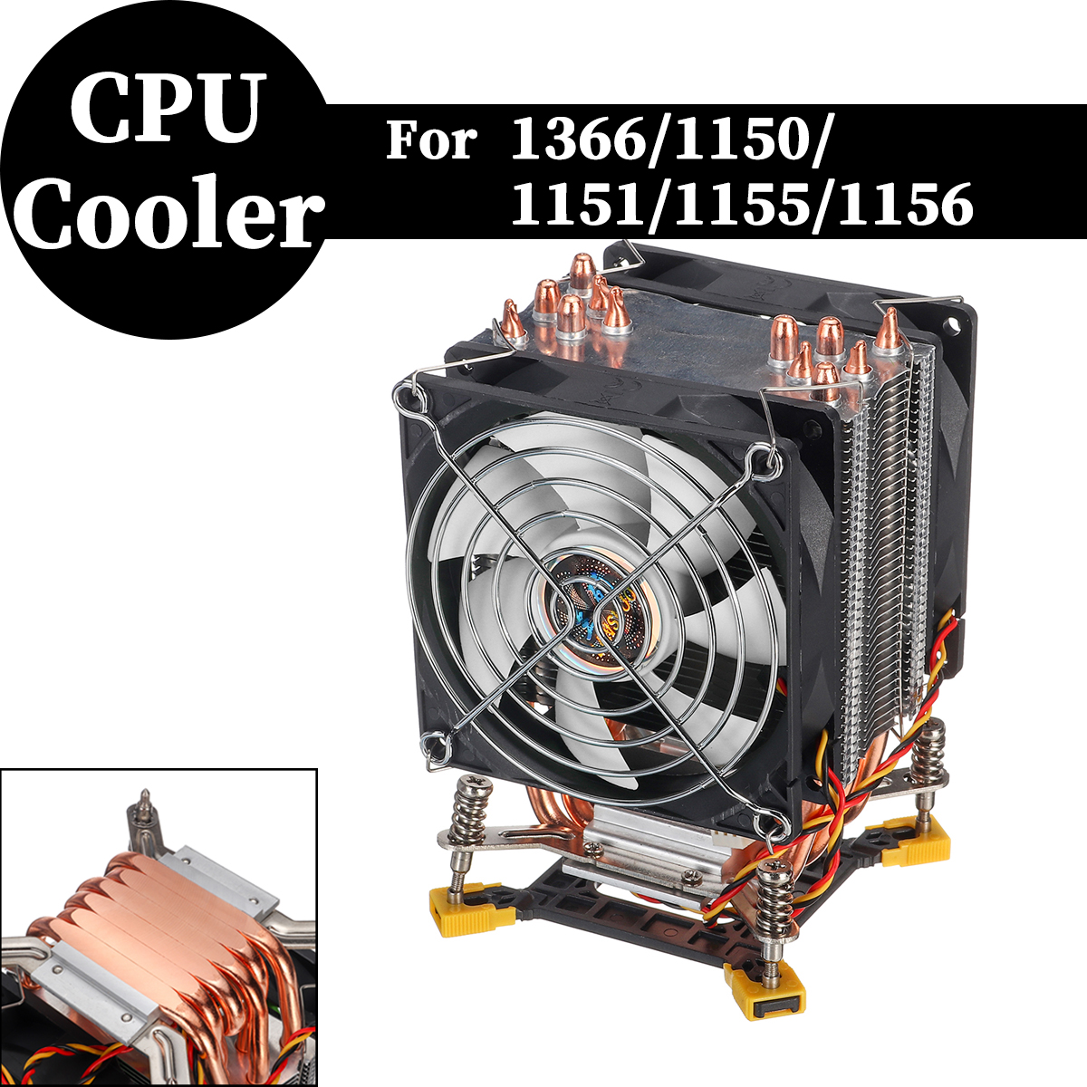 Blade Color: only AMD, Blade Quantity: 1 Fan Rarido 4PIN CPU Cooler 115X 1366 2011,6 heatpipe Dual-Tower Cooling 9cm Fan,Support Intel AMD