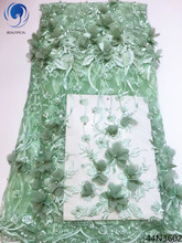 Beautifical latest 3d lace fabric african with beads light green flower tulle nigerian 44N36