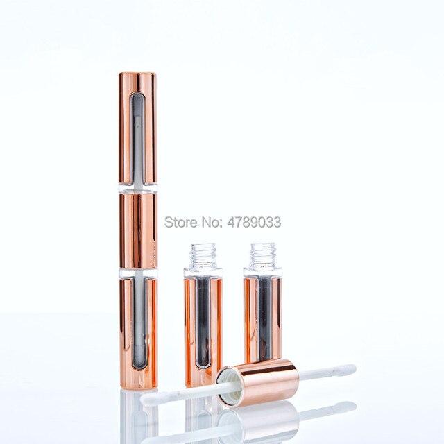 Tubos vacíos de brillo de labios 10/30/50 Uds., DIY, barra de labios de oro rosa de doble cabeza, envase de embalaje vacío para brillo labial, botella de tubo